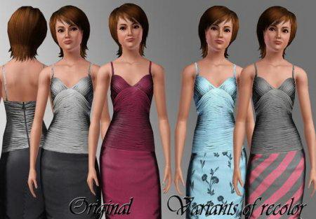 Изящное вечернее платье для игры Симс3 в формате sims3pack