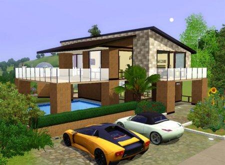 Современный городской дом Sunset Lane для Симс 3 в формате sims3pack