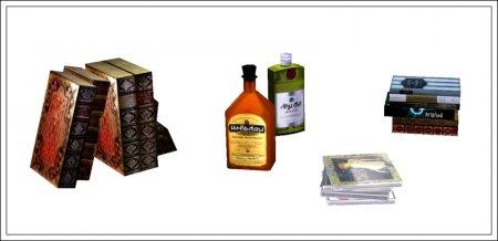 Предметы декора (книги бутылки и прочее) для Симс 3 в формате package