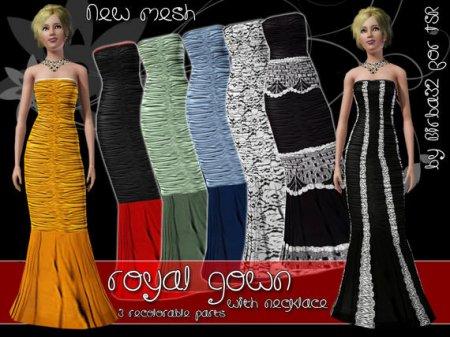 Королевское платье с ожерельем для Симс 3 в формате sims3pack