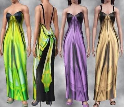 Длинное платье для Симс 3 в формате sims3pack