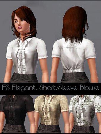 Изящная блузка с короткими рукавами для Симс 3 в формате sims3pack