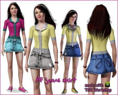Повседневная одежда (Джинсовая юбка) для Симс 3 в формате sims3pack