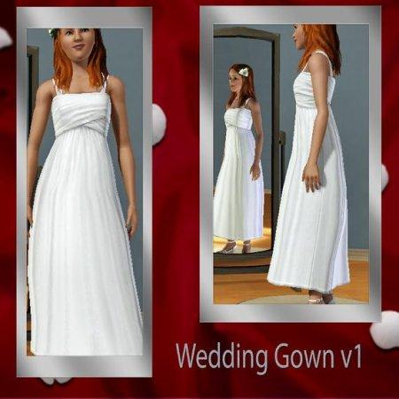 Свадебное простое платье для Симс 3 в формате sims3pack