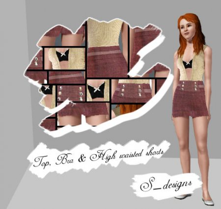 Топ, лифчик и шорты для Симс 3 в формате sims3pack