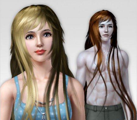 Прическа (длинные лоснящиеся волосы) для Симс 3 в формате package