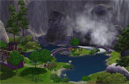 Парк с водопадом для игры Симс 3 в формате sims3pack
