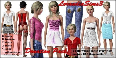 Набор одежды (платья джинсы нижнее белье) для Симс 3 в формате package