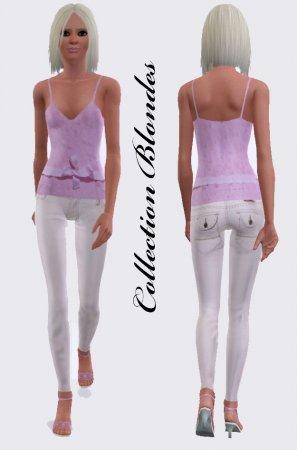 Розовый топ и белые джинсы для Симс 3 в формате sims3pack