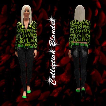 Зеленая кофта с джинсами для Симс 3 в формате sims3pack
