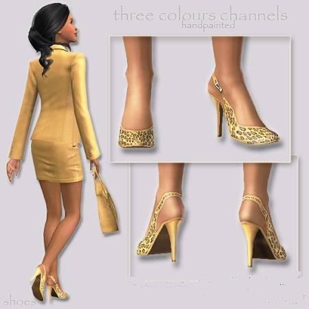 Стильные туфли на высоком каблуке для Симс 3 в фомрате sims3pack