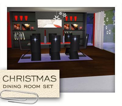 Новогодний набор мебели столовой для Симс 3 в формате Sims3pack