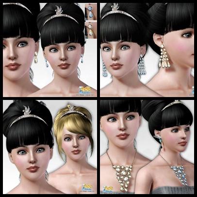 Серьги, диадема и бусы для Sims 3 в формате package