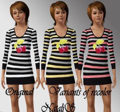 Короткое полосатое платье для Симс 3 в формате sims3pack