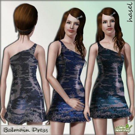 Короткое платье с одной бретелькой для Симс 3 в формате sims3pack