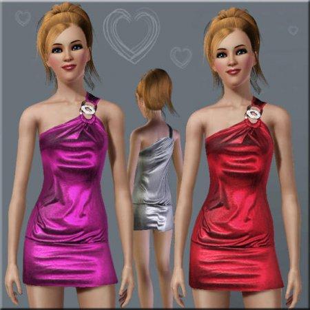 Короткое платье с одной бретелькой и брошью для Симс 3 в формате sims3pack