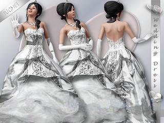 Свадебное платье с огромным подолом для Симс 3 в формате sims3pack