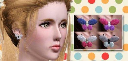Серьги-бабочки для Sims 3 в формате sims3pack