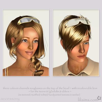 Очки на голове для Симс 3 в формате sims3pack