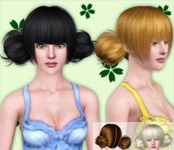 Прическа с двумя шишками от peggy для Sims 3 в формате package