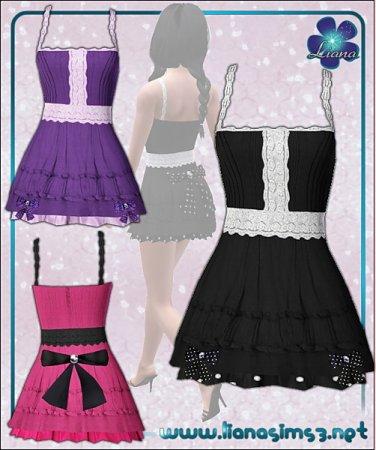 Кружевное короткое платье от Liana для Симс 3 в формате sims3pack