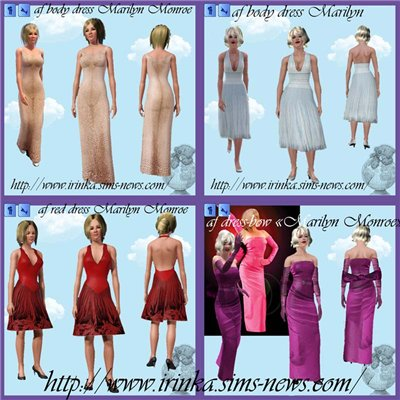 Четыре платья Мерилин Монро (Marilyn Monroe) для Симс 3 в формате sims3pack
