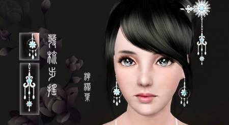 Китайские украшения (серьги и заколка) для Sims 3 в формате sims3pack