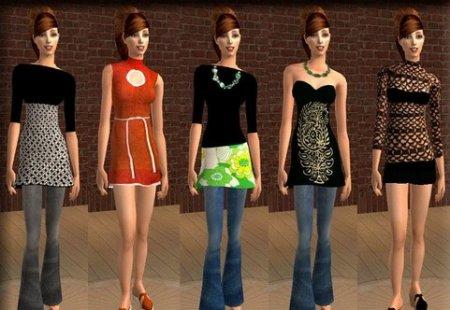 Набор женских костюмов для Симс 2