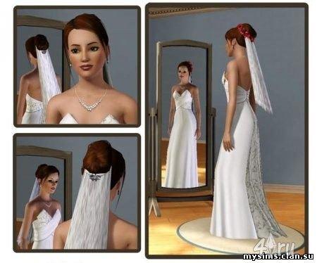 """Свадебная прическа с фатой для Симс 3 в формате sims3pack """" The Sims - всё для игр Sims 4, Sims 3, sims 2, sims"""