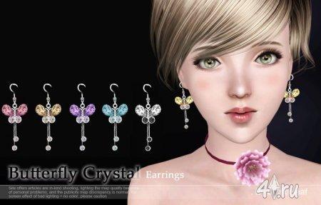 Серьги Butterfly Crystal от lemonleafs для Sims 3 в формате sims3pack