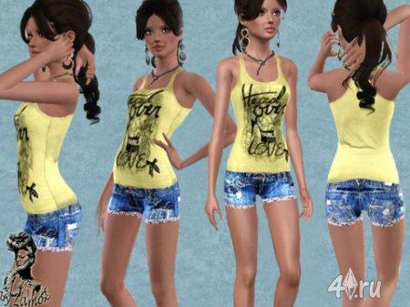 Шорты и топ от Zamok для Sims 3