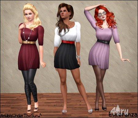Женское платье с длинными рукавами для Симс 3 в формате sims3pack