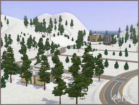 Снежный город для Sims3 в формате sims3pack