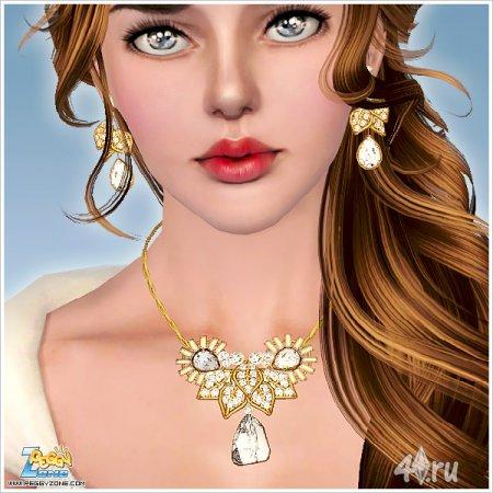 Ювелирные украшения (серьги и подвеска) от Peggyzone для Sims 3 в формате p ...