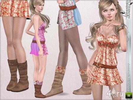 Платье и сапожки от Simsimay для Sims 3 в формате sims3pack