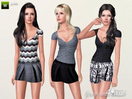 Серое и чёрное платье от lillka для Симс 3 в формате sims3pack
