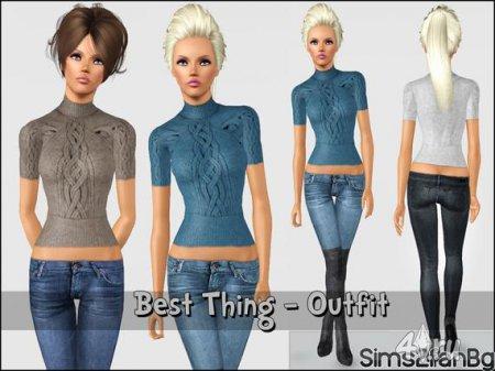 Кофта и джинсы от Sims2fanbg для Sims 3