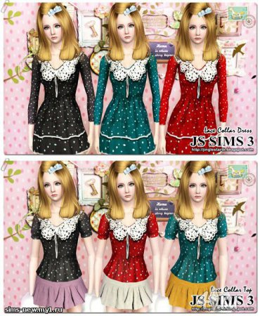 ��� ������� ������ Lace Collar Dress And Top �� JS SIMS 3