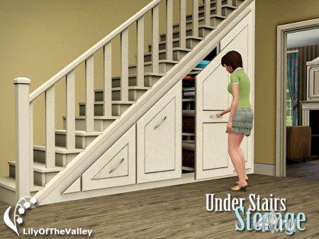 Шкаф по лестницу от  LilyOfTheValley для Симс 3 в формате sims3pack