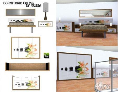 """Спальня """"Dormitorio Calma"""" от Mussa для Симс 3 в формате sims3pack"""