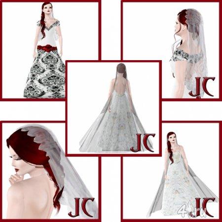 Свадебные платья и фата от Jadedcat1983 для Симс 3
