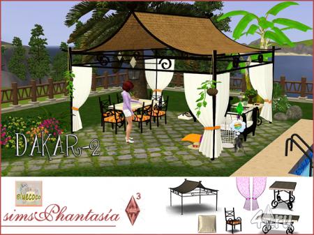 """Набор для дворика """"Дакар 2"""" от Bluecoco для Симс 3 в формате sims3pack"""