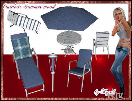 """Набор для дворика """"Летнее настроение"""" от Kyrah для Симс 3 в формате sims3pack"""