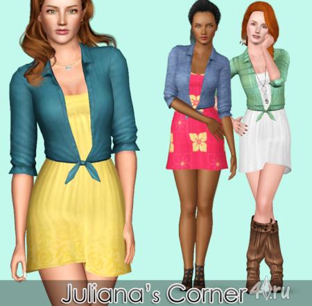 "Платье ""Capriccio"" от Juliana's Corner для Симс 3 в формате sims3pack"