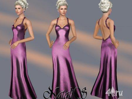 Атласное кружевное платье от NataliS для Симс 3 в формате sims3pack