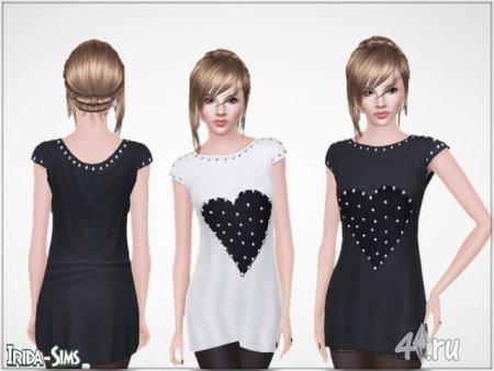 Платье сердцем и заклепками от Irida-Sims для Симс 3 в формате sims3pack