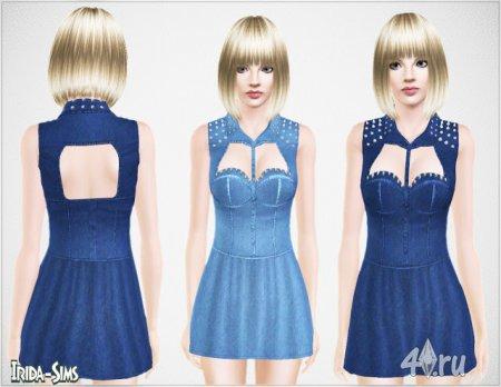 Джинсовое платье с шипами от Irida для Симс 3 в формате sims3pack