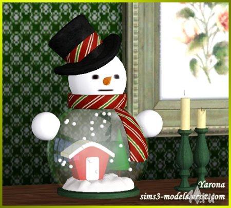 Декор (Снежный шар Снеговик) от Yarona для Симс 3 в формате sims3pack