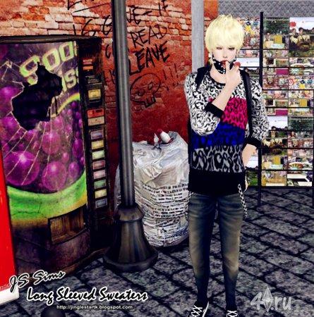 Мужской свитер с длинными рукавами для Симс 3