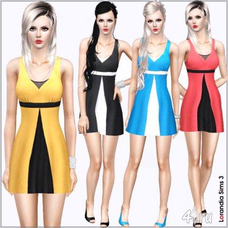 Короткое двухцветное платье от Lorandia для Симс 3 в формате sims3pack